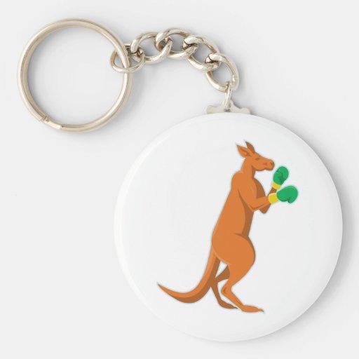 kangaroo boxer boxing retro keychain