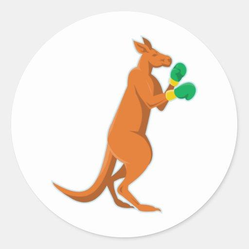 kangaroo boxer boxing retro stickers