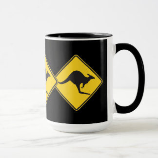 Kangaroo Caution Sign Mug
