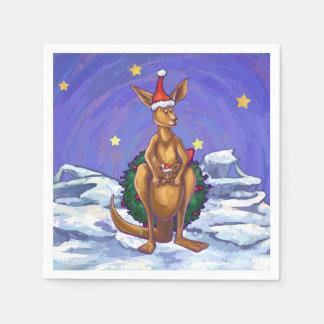 Kangaroo Christmas Starry Night Paper Napkin