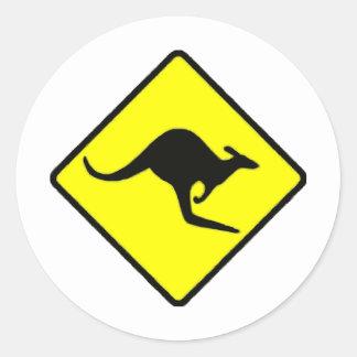 Kangaroo Crossing Classic Round Sticker