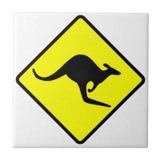 KANGAROO CROSSING - down under/oz/australia/aussie Small Square Tile