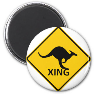 Kangaroo Crossing Highway Sign Magnet