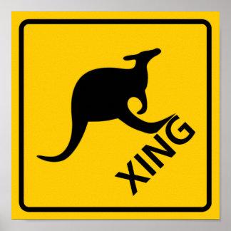 Kangaroo Crossing Highway Sign Poster