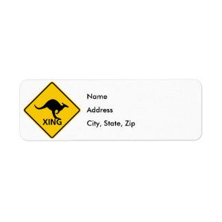 Kangaroo Crossing Highway Sign Return Address Label