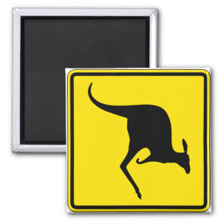 Kangaroo Crossing, Traffic Warning Sign, Australia Square Magnet