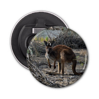 Kangaroo Down At  Billabong Magnetic Bottle Opener