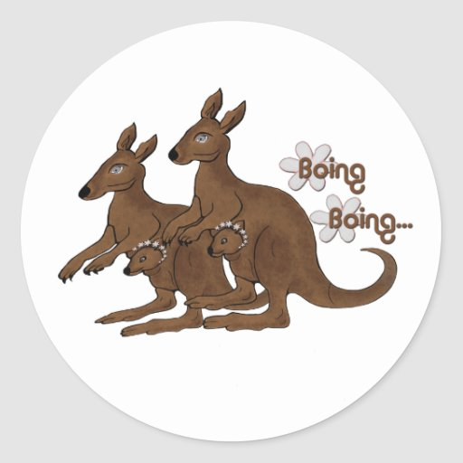 Kangaroo Family Baby in Pouch Boing Trip Stickers