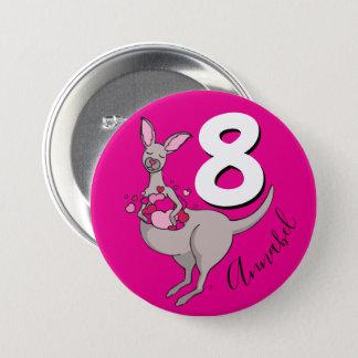 Kangaroo girls 8th birthday name pink button