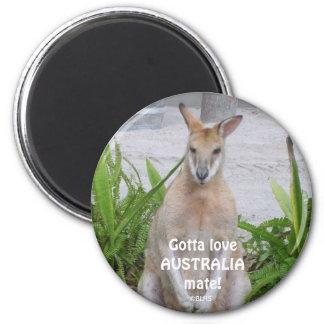 Kangaroo Gotta loveAUSTRALIAmate!, ©BLHS 6 Cm Round Magnet