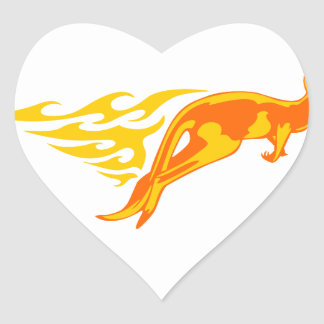 Kangaroo in Flames Heart Sticker