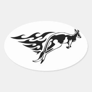 Kangaroo in Flames Oval Sticker