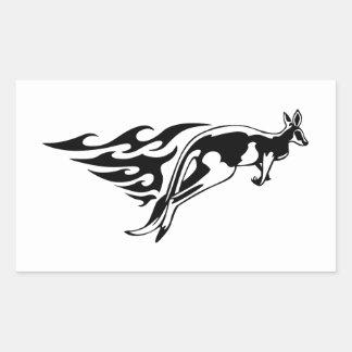 Kangaroo in Flames Rectangular Sticker