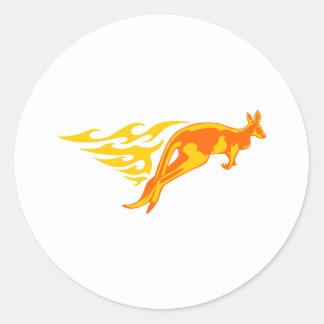 Kangaroo in Flames Round Sticker