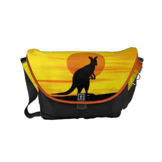 Kangaroo in outback Sunset Courier Bag