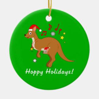 Kangaroo Mom and Joey at Christmas Hoppy Holidays Christmas Ornament