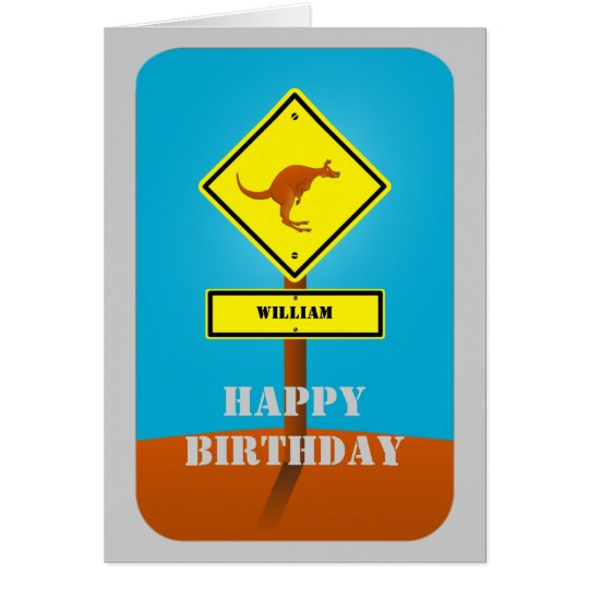 Kangaroo personalised birthday card