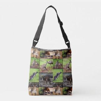 Kangaroo Photo Collage, Full Print Crossbody Bag. Crossbody Bag