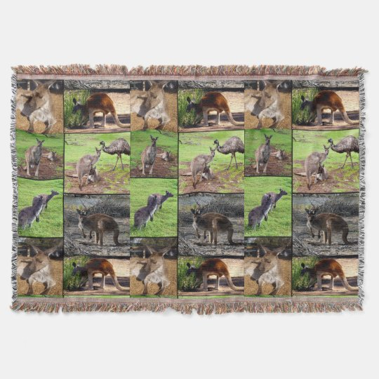Kangaroo Photo Collage, Woven Throw Blanket.