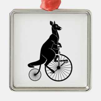Kangaroo Riding a Bike Christmas Ornament