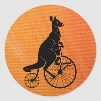 Kangaroo Riding a Bike Round Sticker
