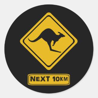 kangaroo road sign classic round sticker