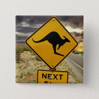 Kangaroo sign, Australia 15 Cm Square Badge