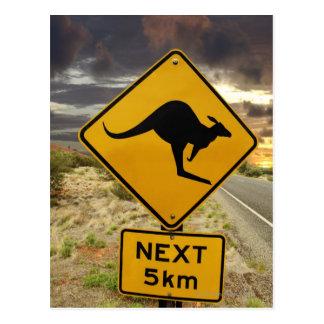 Kangaroo sign, Australia Postcard