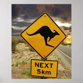 Kangaroo sign, Australia Poster