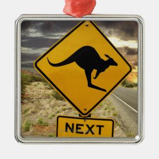Kangaroo sign, Australia Silver-Colored Square Decoration