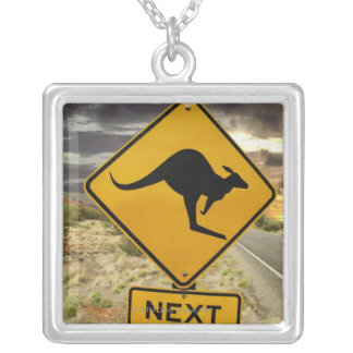 Kangaroo sign, Australia Silver Plated Necklace