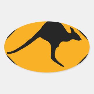 Kangaroo Sign Oval Sticker