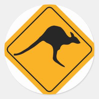 Kangaroo Sign Round Sticker