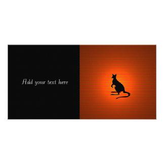 Kangaroo Silhouette on Orange and Red Stripes Photo Cards