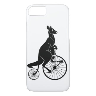 Kangaroo Silhouette Riding a Bike iPhone 8/7 Case