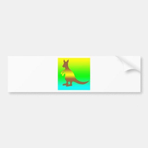 Kangaroo Silhoutte fresh yellow and green Bumper Sticker