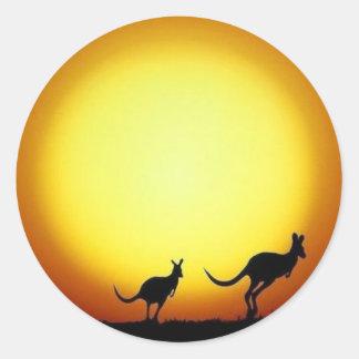 Kangaroo Sunset Stickers