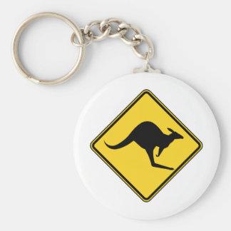 kangaroo warning danger in australia day basic round button key ring
