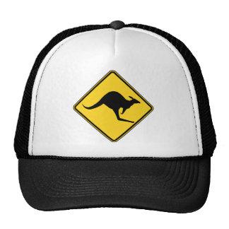 kangaroo warning danger in australia day trucker hat