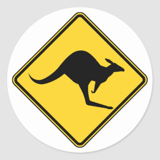 kangaroo warning danger in australia day round sticker
