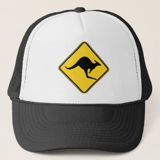 kangaroo warning danger in australia day trucker hat