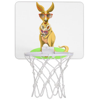 Kangaroo with glasses mini basketball hoop