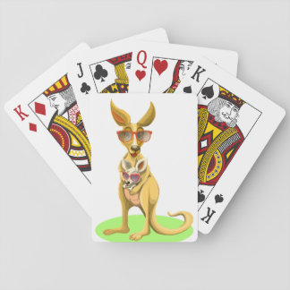 Kangaroo with glasses playing cards