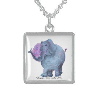 """Kangarooing Elephant"" Small Square Necklace"