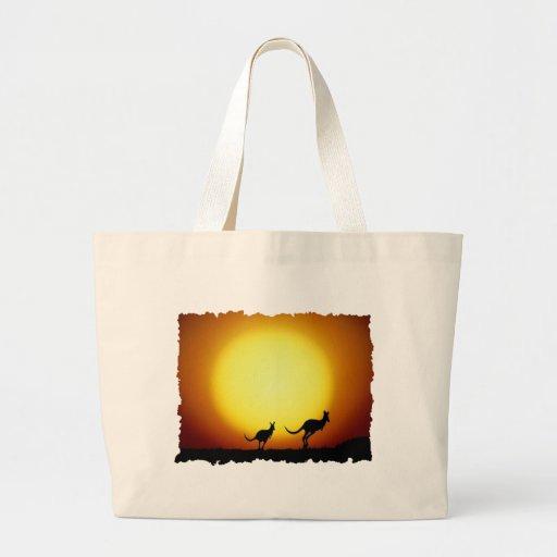Kangaroos against the desert sun bags