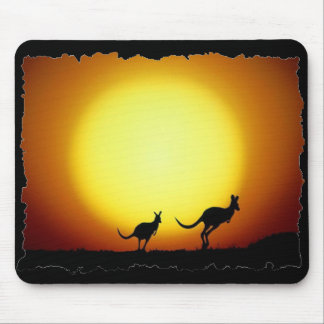 Kangaroos against the desert sun mouse pad