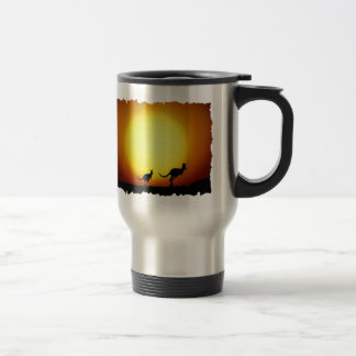 Kangaroos against the desert sun travel mug