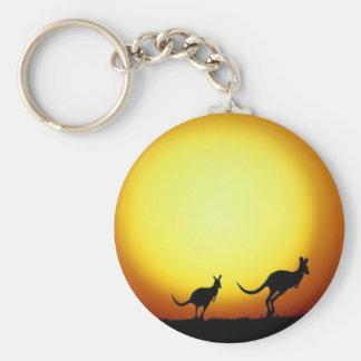 Kangaroos in the Australian Outback Basic Round Button Key Ring
