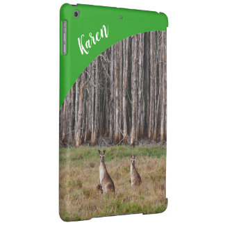 Kangaroos IPad case with name - green