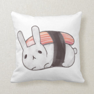 Kani Sushi Bunny Throw Pillow
